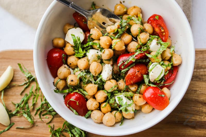 top view of Chick Pea Salad in a bowl