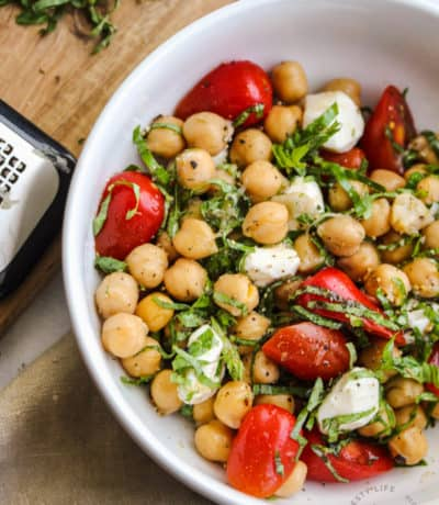 close up of Chickpea Salad in a bowl