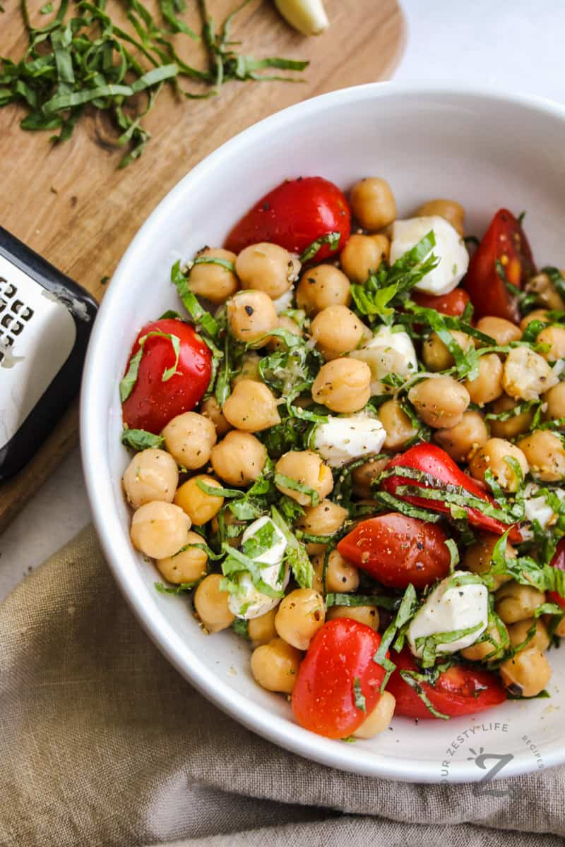 close up of Chick Pea Salad in a bowl