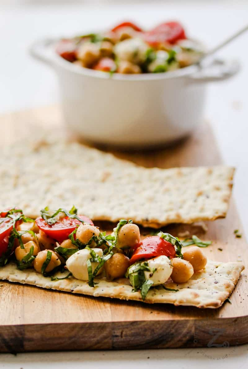 Chick Pea Salad in a bowl and on a cracker