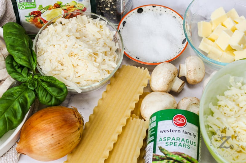 ingredients to make Chicken Lasagna with can of asparagus spears