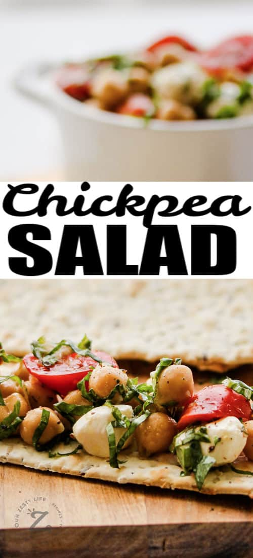 Chickpea Salad on a cracker with bowl in the background full and a title