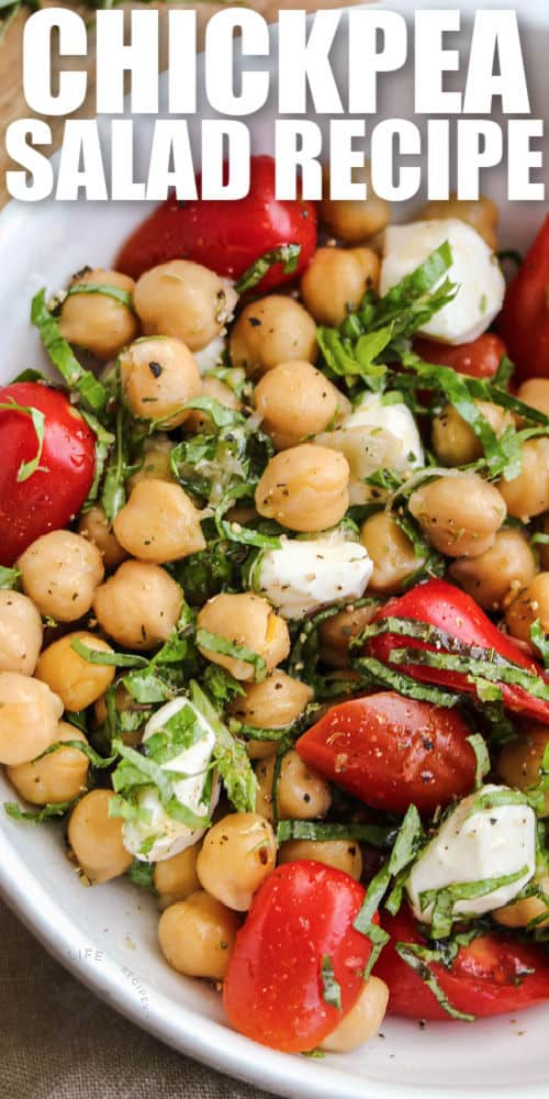 Chickpea Salad in a bowl with writing