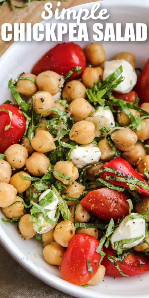 Chickpea Salad in a white bowl with a title