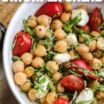 top view of Chickpea Salad in a bowl with a title