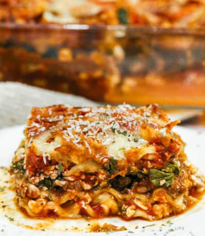 plated Spinach Lasagna with a casserole in the background