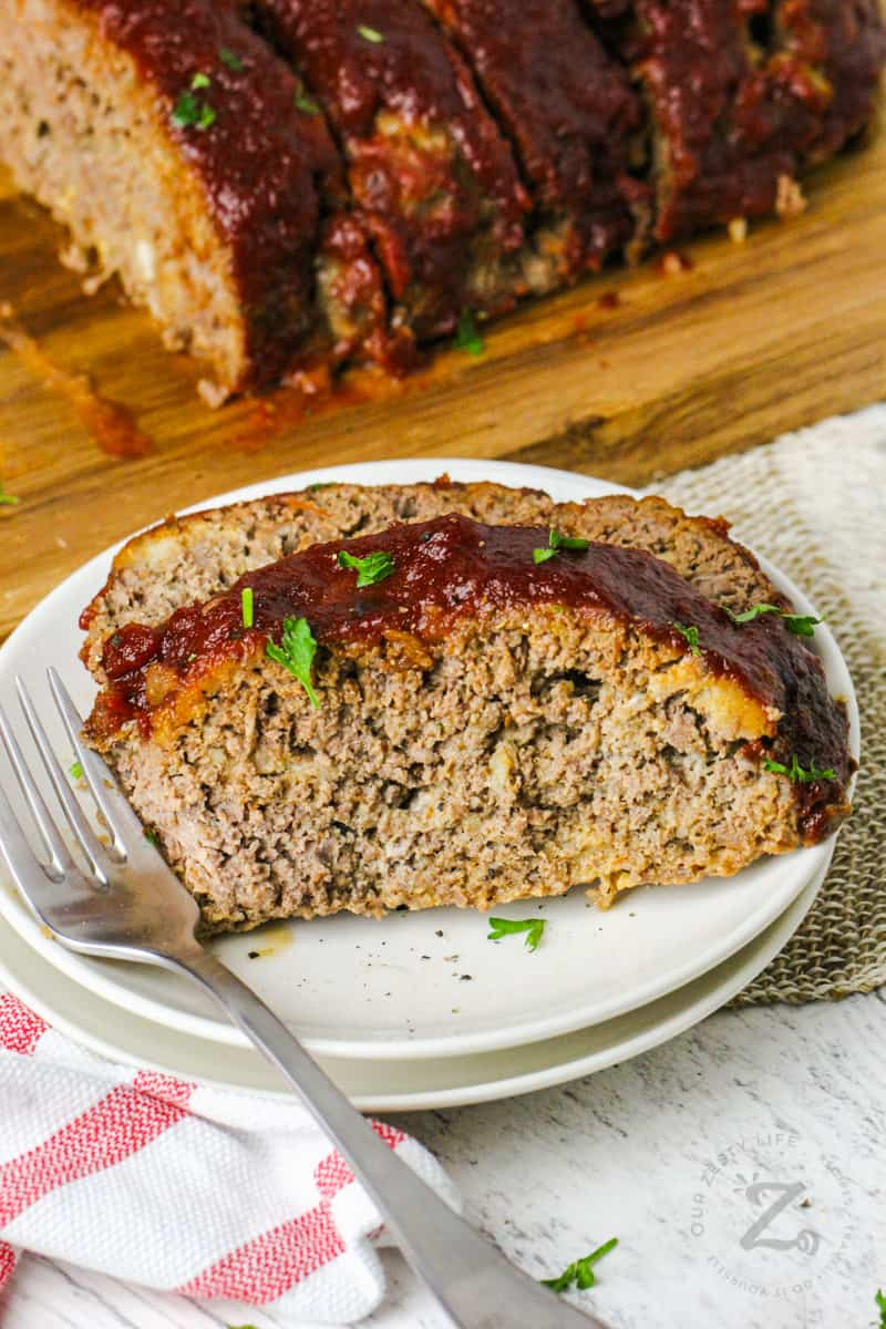 Homemade Meatloaf on a plate with a fork