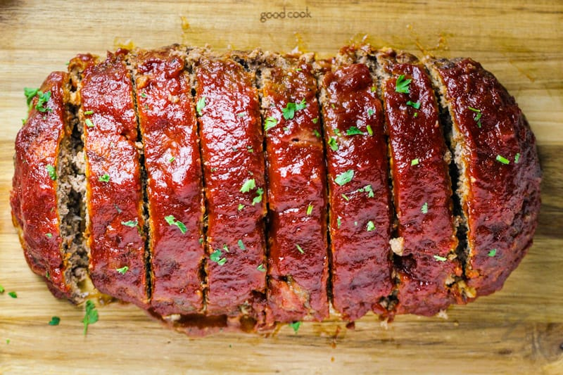 top view of sliced Homemade Meatloaf