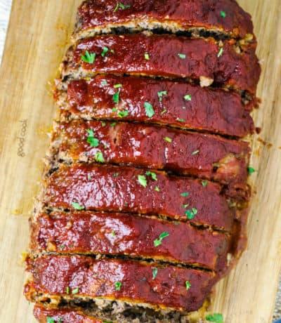 loaf of Homemade Meatloaf cut into slices