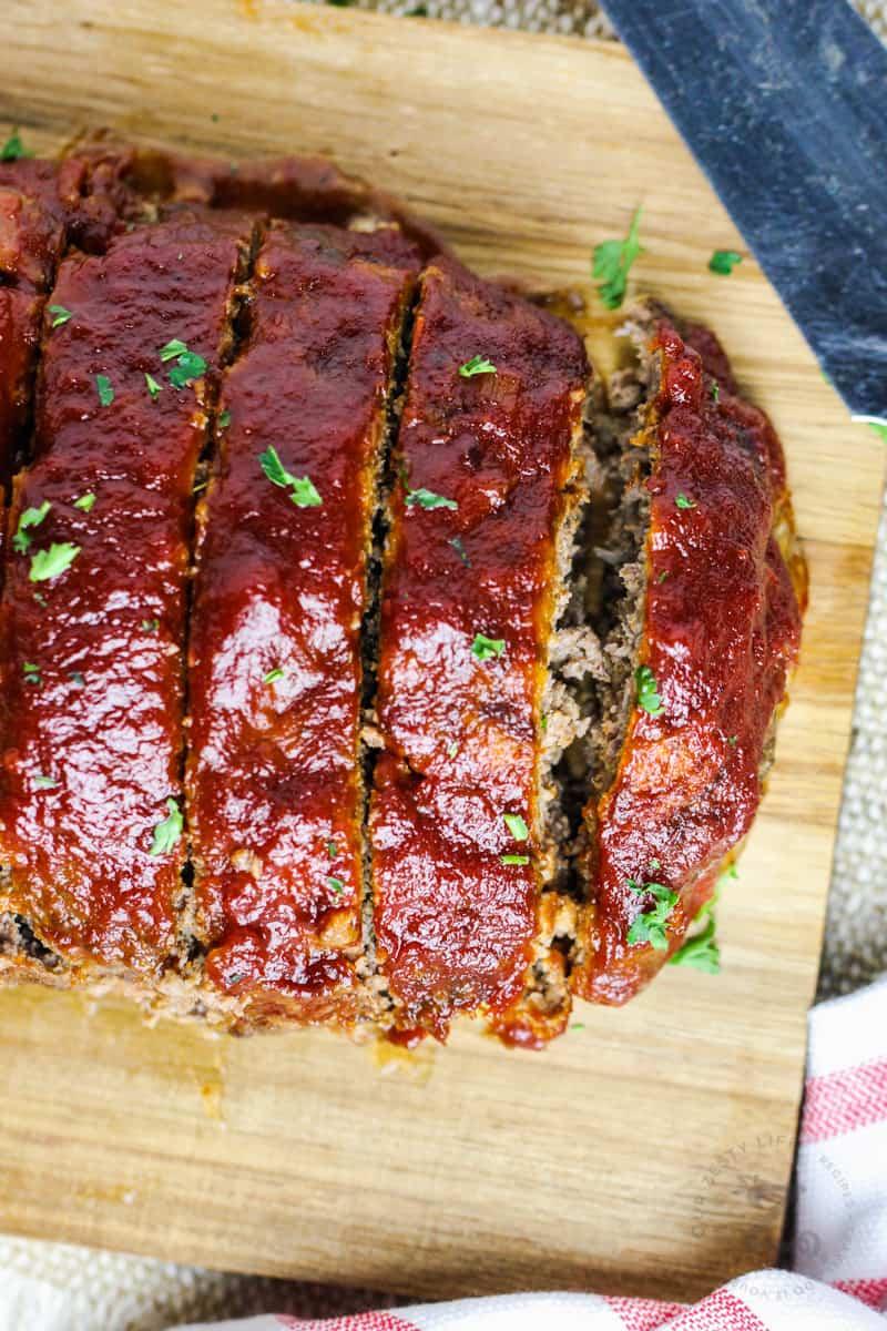 close up of sliced Homemade Meatloaf