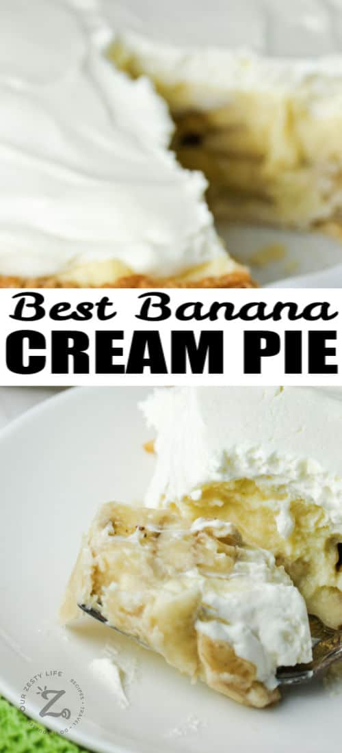close up of Banana Cream Pie on a fork and pie in the back with a title