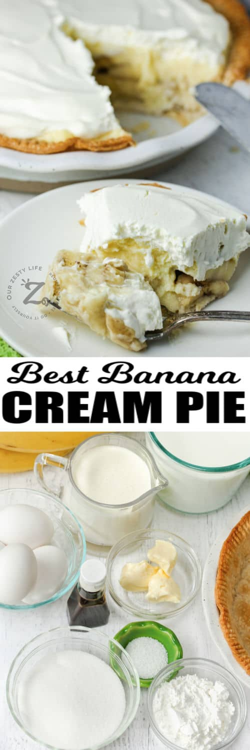 ingredients to make Banana Cream Pie with plated dish and a title