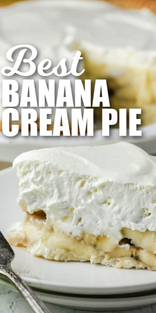 close up of Banana Cream Pie with a title