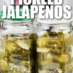 Instant Pot Quick Pickled Jalapenos in jars with a title