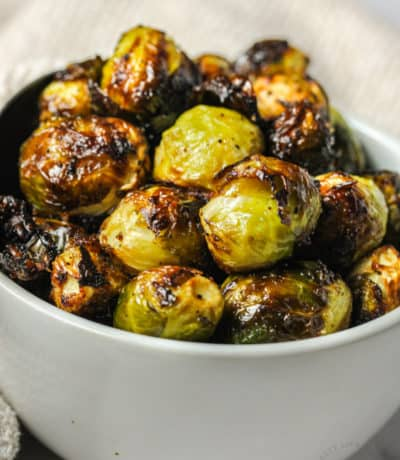 close up of plated Air Fryer Brussels Sprouts