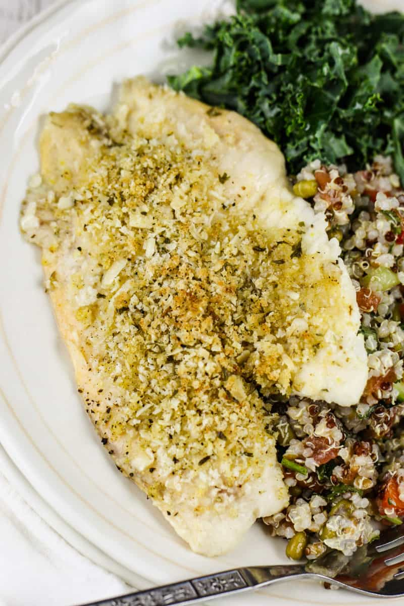 top view of Baked Tilapia on a plate