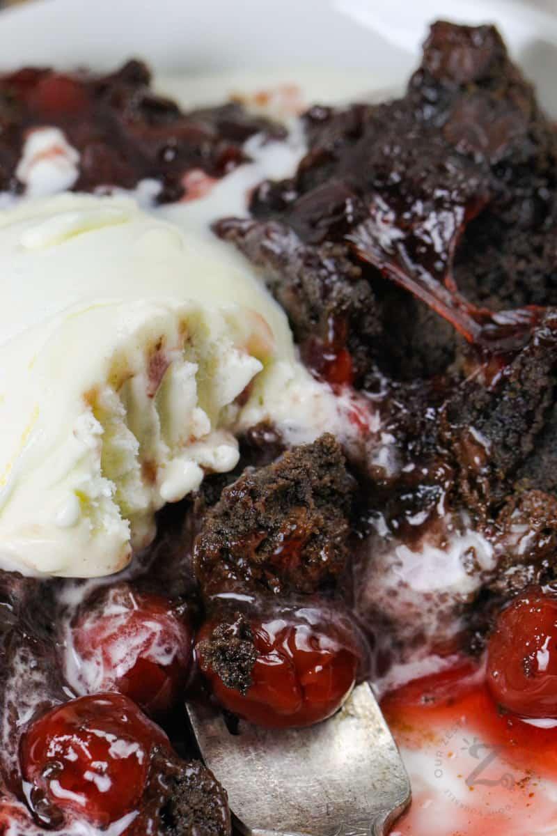close up of Chocolate Cherry Dump Cake