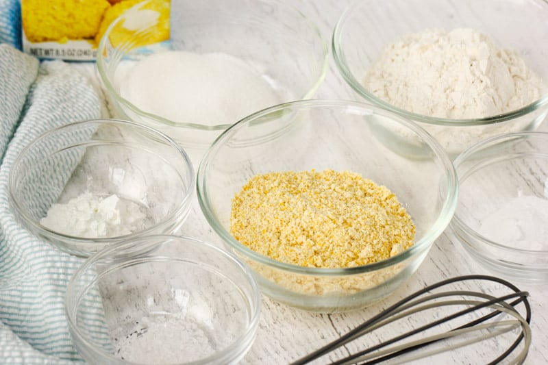Copycat Jiffy Muffin Mix ingredients in bowls