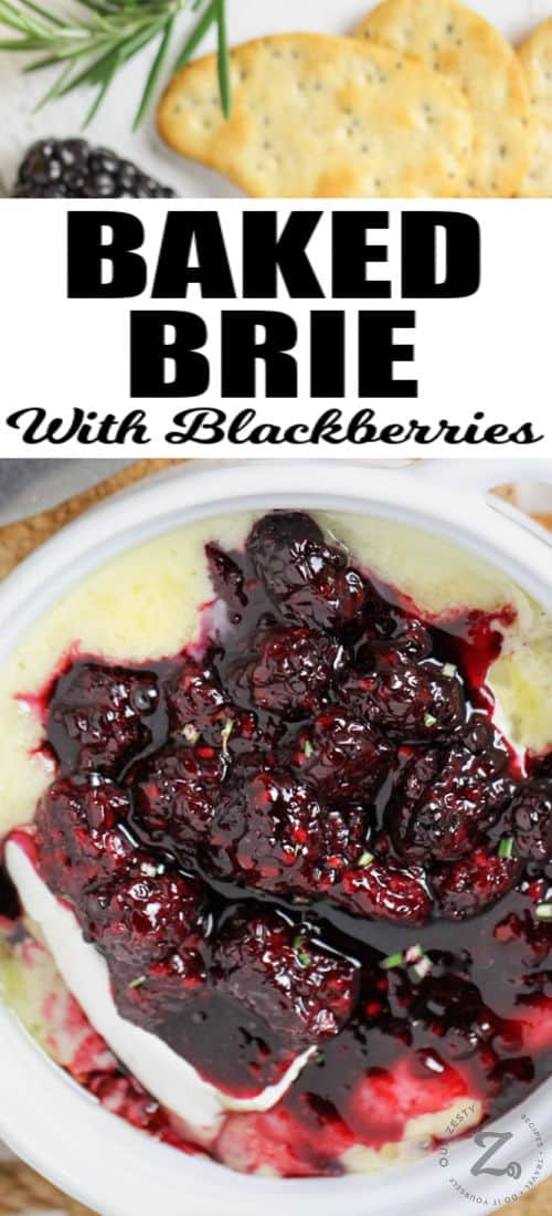 Baked Brie with Berries with writing