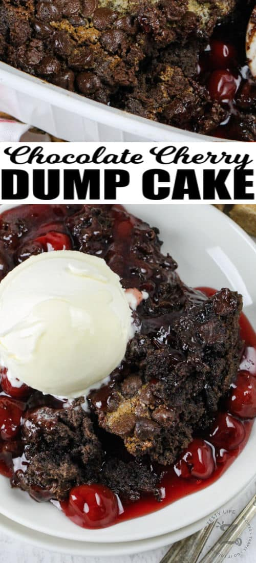 Chocolate Cherry Dump Cake on a plate with a title