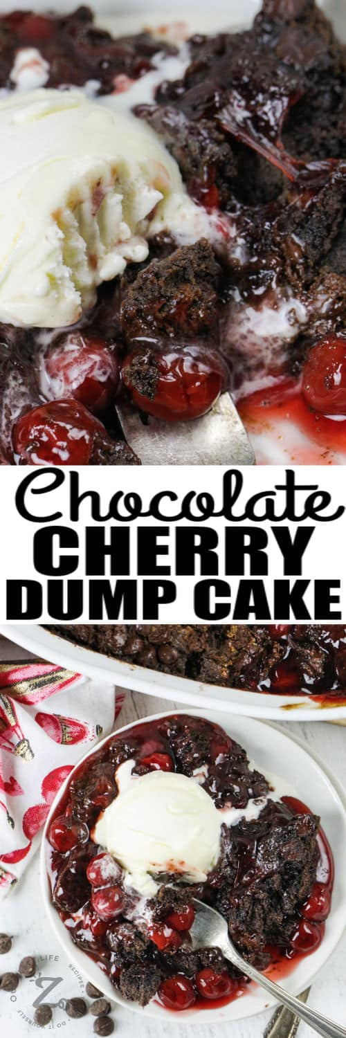 close up of Chocolate Cherry Dump Cake and a plated dish with a title