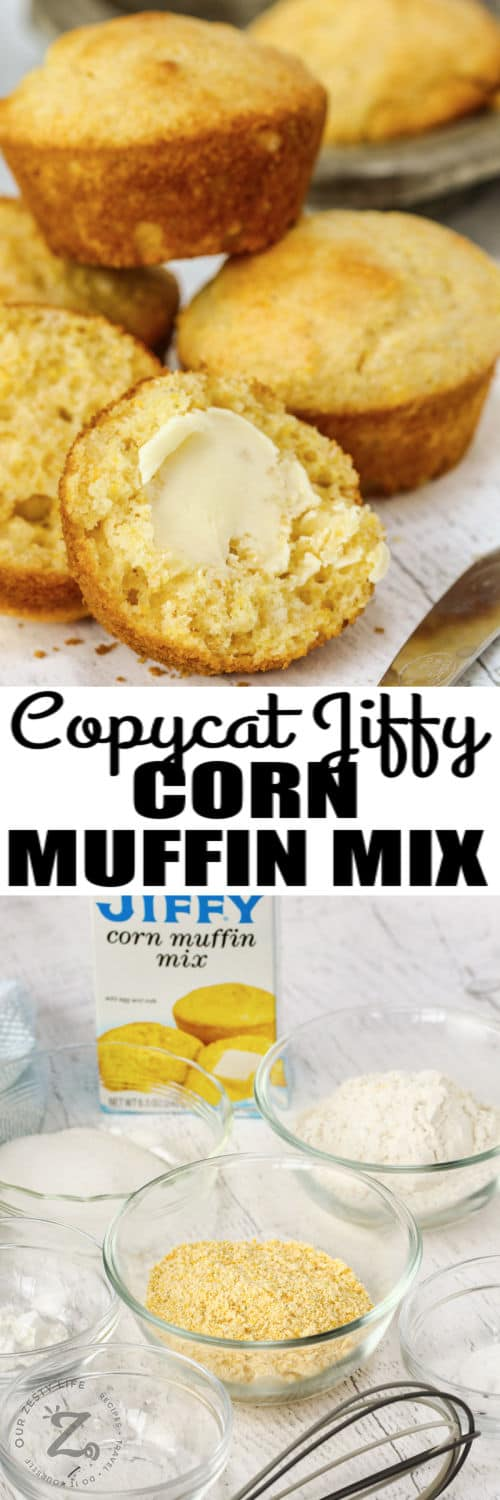 Copycat Jiffy Muffin Mix ingredients and finished muffins with a title