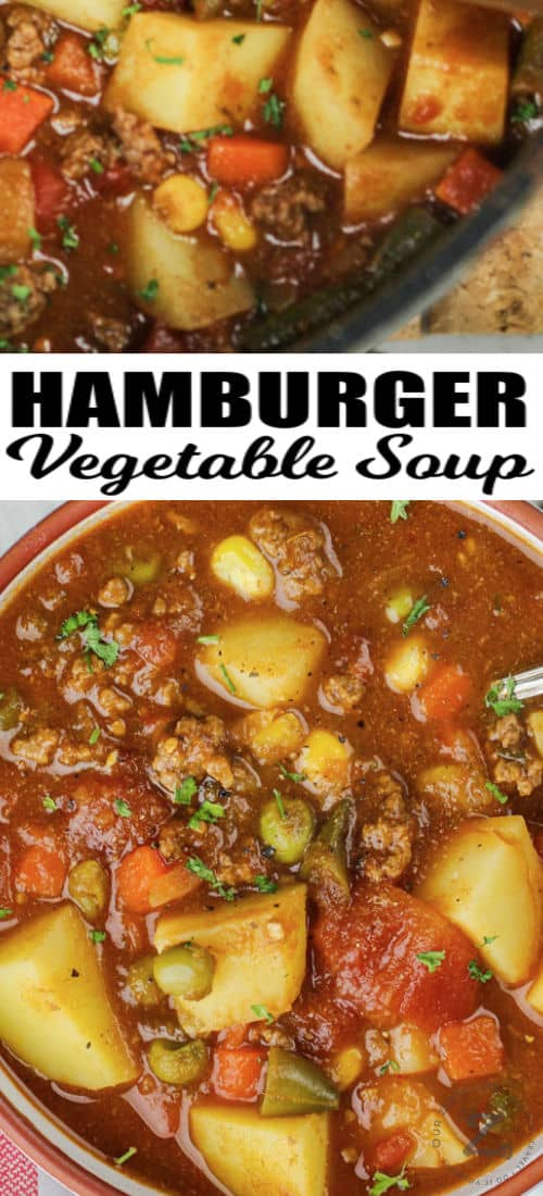 Hamburger Soup in a bowl and pot with writing