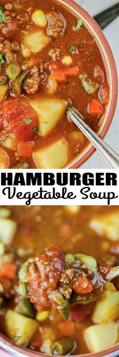 Hamburger Soup in bowls with a spoon full