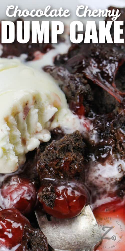 close up of Chocolate Cherry Dump Cake with writing