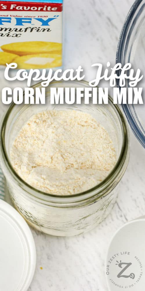 Copycat Jiffy Muffin Mix in a jar with writing