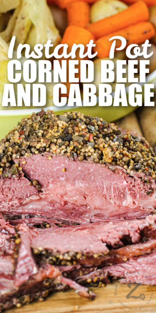 close up of Instant Pot Corned Beef and Cabbage with writing