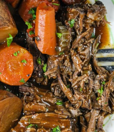 close up of Pot Roast on a plate with carrots