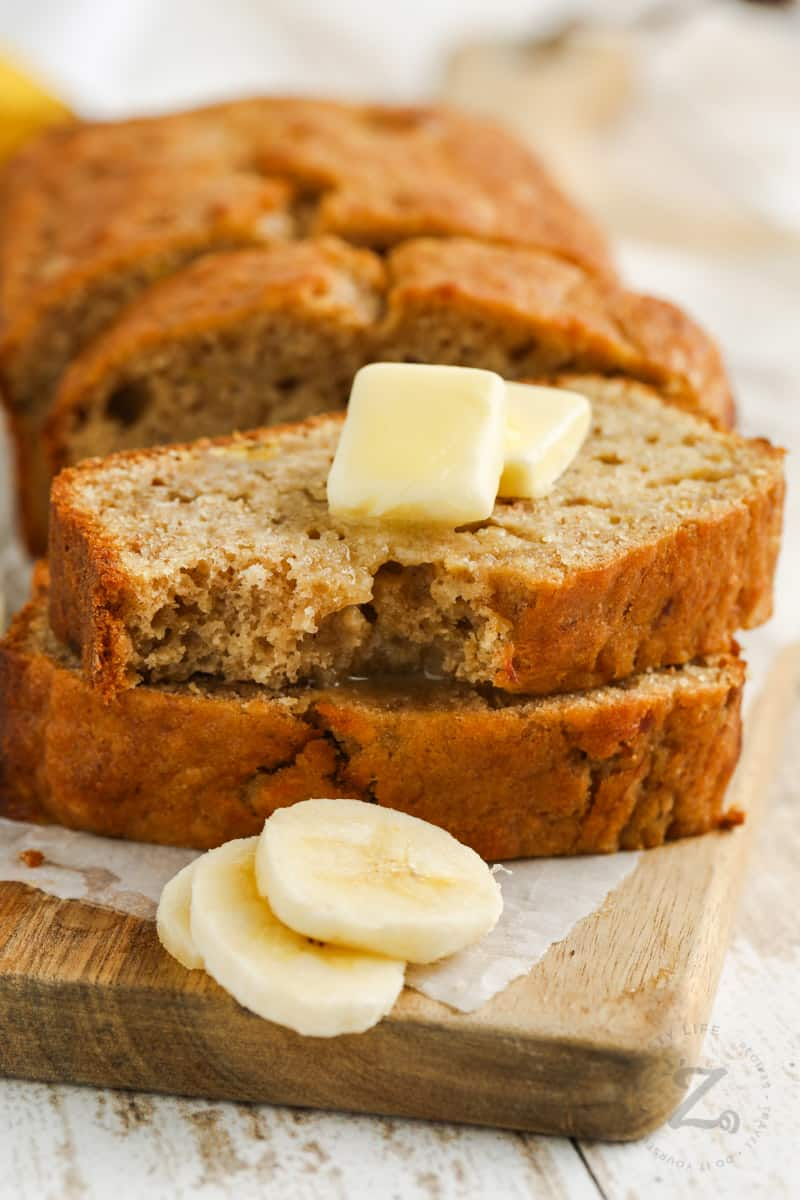Sourdough Banana Bread with melted butter
