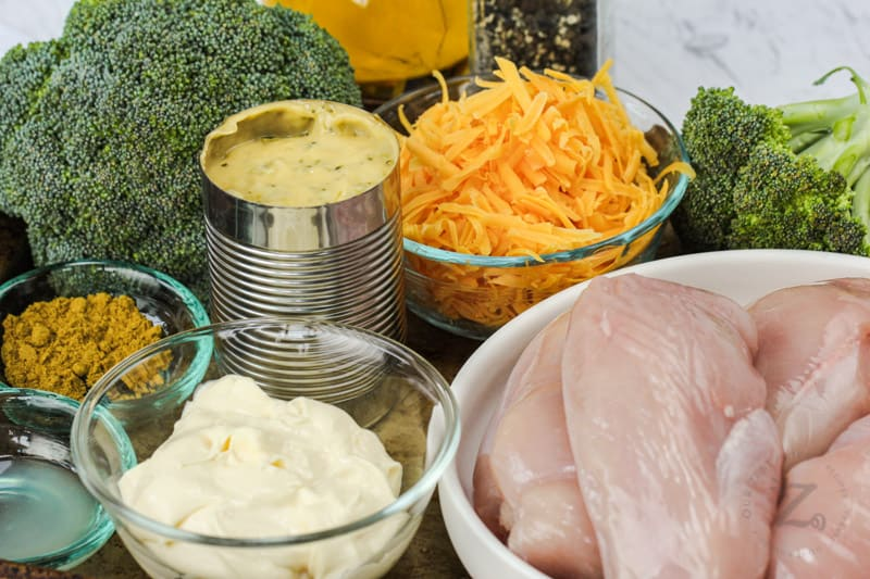 close up of ingredients to make Chicken Broccoli Bake