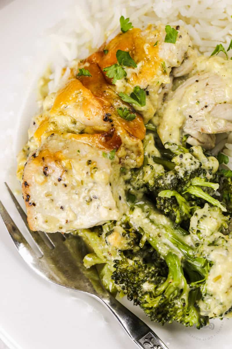 close up of plated Chicken Broccoli Bake