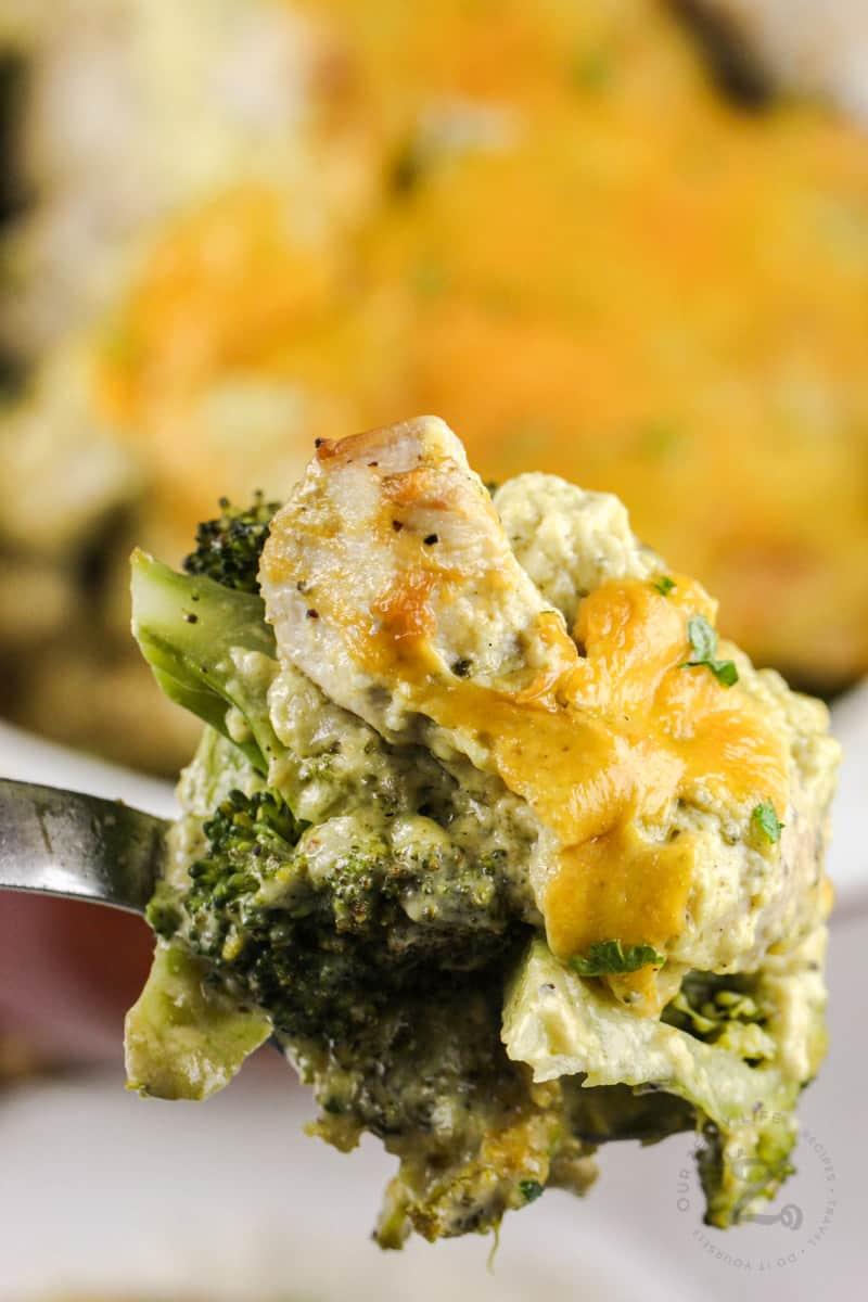 Chicken Broccoli Bake on a fork