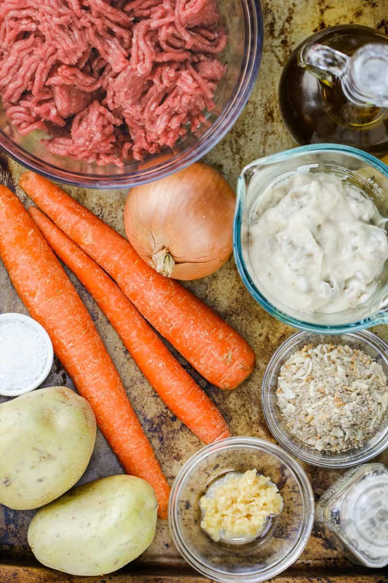 ingredients to make Hamburger Foil Pack