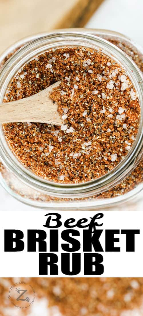 top view close up of Best Beef Brisket Rub in a jar with writing