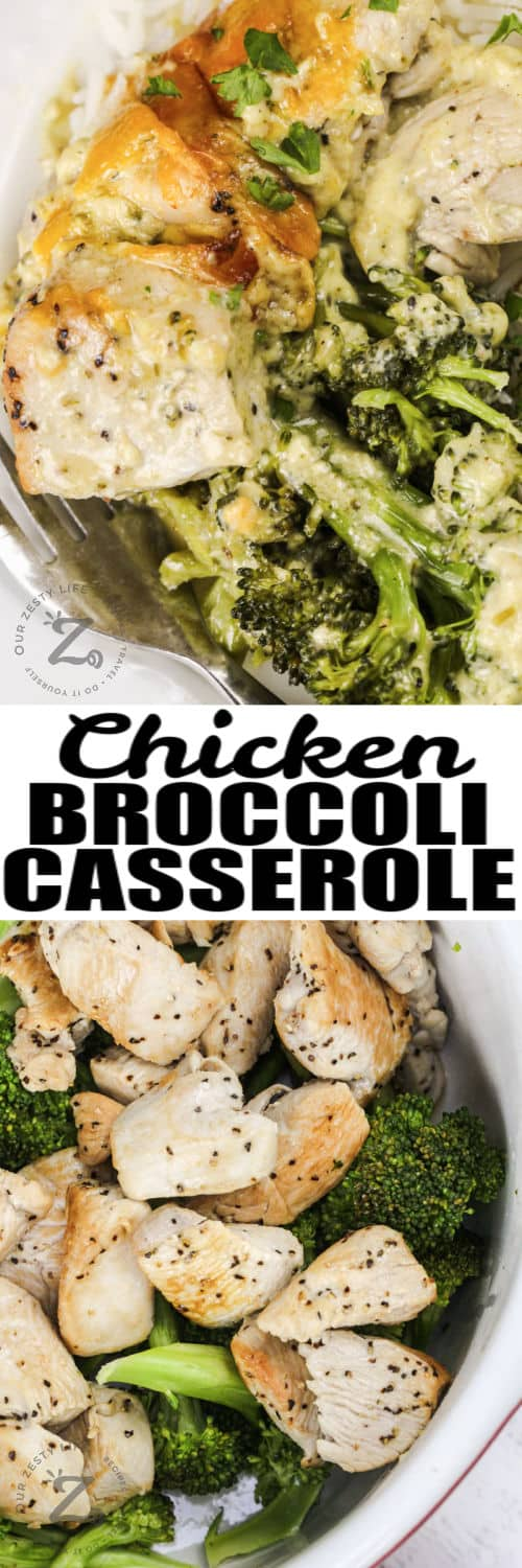 chicken and broccoli to make Chicken Broccoli Bake with plated dish and a title
