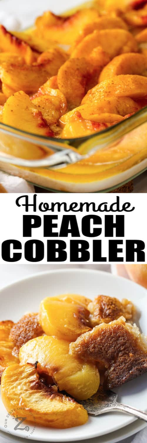 Peach Cobbler on a plate and in the dish with writing