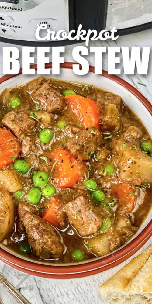bowl of Beef Stew with bread and a title