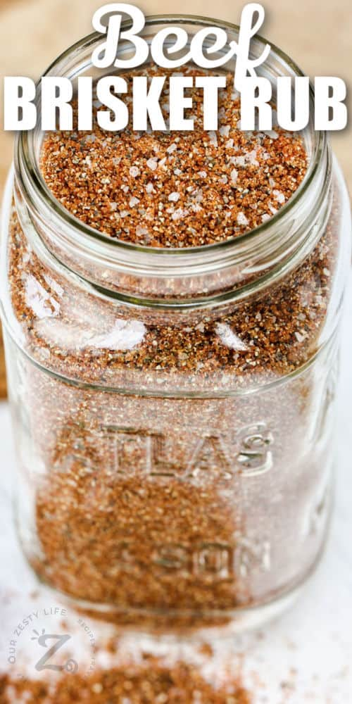 Best Beef Brisket Rub in a jar with a title