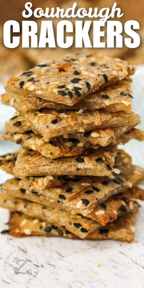 pile of Sourdough Crackers with writing