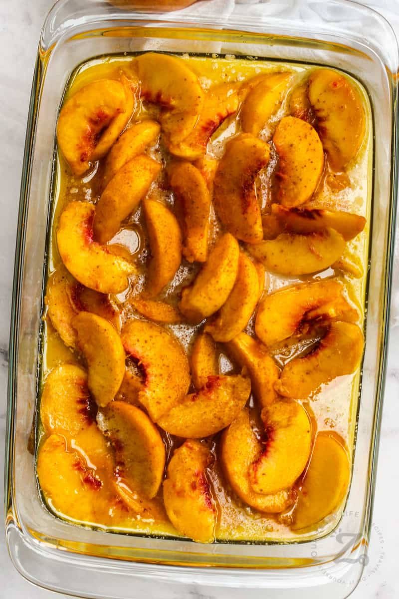 top view of Peach Cobbler in the dish before cooking