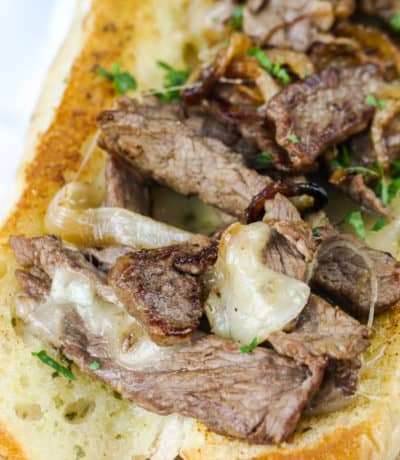 close up of Philly Cheesesteak Sandwich