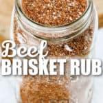 Best Beef Brisket Rub in a jar with writing