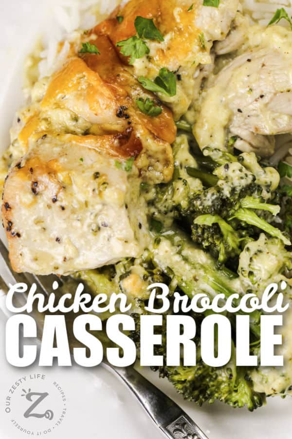plated Chicken Broccoli Bake with a title