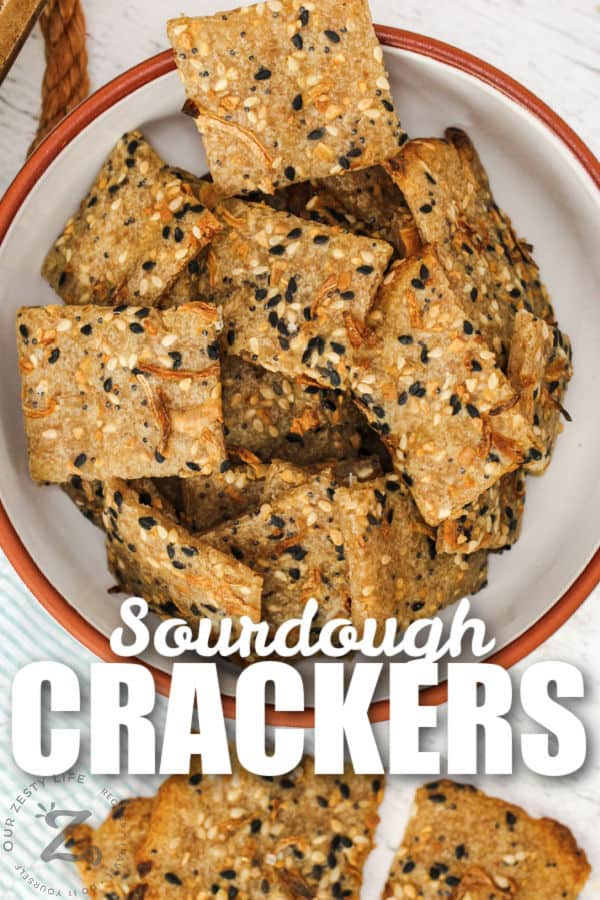 plated Sourdough Crackers with a title