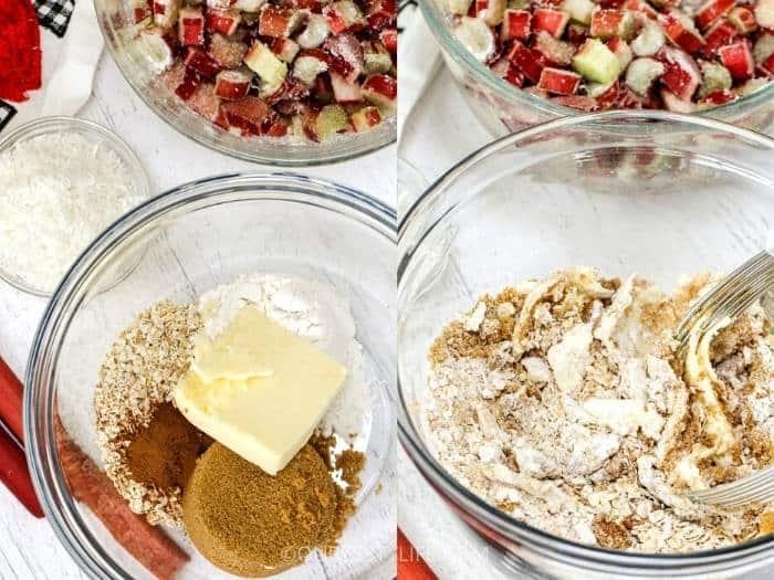 process of mixing ingredients to make Rhubarb Crisp