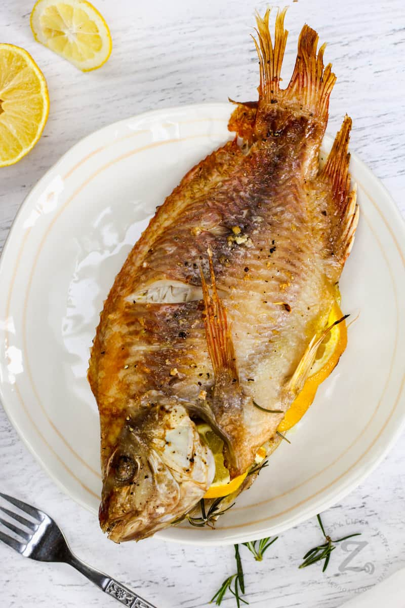 plated Baked Whole Fish